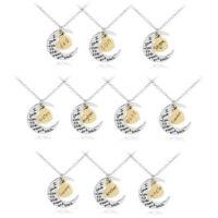 Familien Halskette in Silber Gold mit Halbmond Herz aus Edelstahl Kette Anhänger