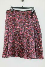 AXCESS purple maroon black floral a-line skirt size 16