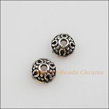 60Pcs Tibetan Silver Tone Tiny Flower End Bead Caps Craft DIY 6mm