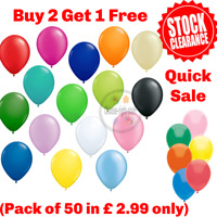 50 Balloons Latex Plain and Metallic Birthday Wedding helium BestQuality Ballon