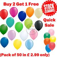 50 Balloons Latex Plain and Metallic Birthday Wedding helium BestQuality Ballon