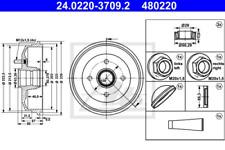 2x Bremstrommel für Bremsanlage Hinterachse ATE 24.0220-3709.2