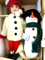 """SNOW MUCH FUN"" PORCELAIN DOLL #80021-HERITAGE SIGNATURE COLLECTION-NIB-SNOWMAN"