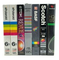 Blank VHS Tapes Lot Of 7 T-120 Video New Sealed Polaroid TDK Certron BASF