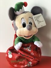 """Disney Parks Mickey Mouse Babies Christmas Holiday Plush Doll in Pouch Small 12"""""""