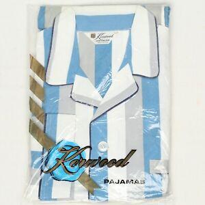 VTG 60s Deadstock Kerwood Mens Pajamas Blue White Gray Stripe Sanforized Cotton