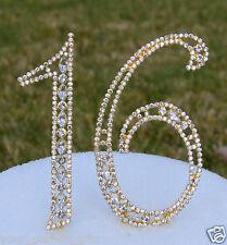 "5"" Rhinestone Gold Number Sweet Sixteen 16 Bling Cake Topper 16th (16) Birthday"