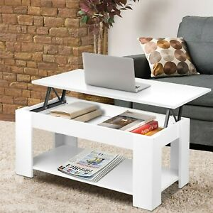 Lift Top Wooden Coffee Table With Storage White Lift up Desk Drawer Living Room