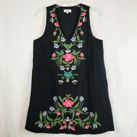 Umgee Black Floral Embroidered Dress Women's Size Small V-Neck Lined Sleeveless