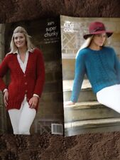 King Cole NEW Knitting Pattern 3571 Ladies JACKET/SWEATER 5 Sizes( SuperChunky )