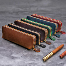 Handmade Cowhide Leather Vintage Zipper Pen Pencil Case Stationery Storage Bag