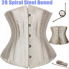 US Black 28 steel bones boned Waist Training Underbust lace up corset Top Shaper