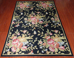 4' X 6' Needlepoint  Huge Rose Bouquet Elegant Country Black  Carpet #69