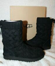 NIB UGG Women's ISLA Lace Up Sweater Boots BLACK US 6 7 8 9 10 11