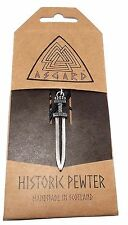 Pewter Viking Sword Pendant Cord Necklace Handcrafted Asgard Av014