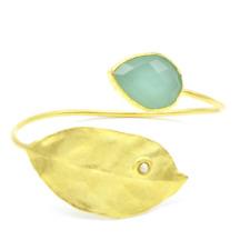 Aylas Leaf Chalcedony cuff/ bracelet - Gold plated semi precious gemstone - Hand