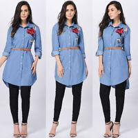 Women's Blue Jeans Denim T-Shirt Long Sleeve Casual Loose Shirt Mini Dress Top