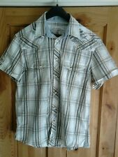VINTAGE BEN SHERMAN TAILORED DENIM SHORT SLEEVE BROWN CHECK SHIRT,SIZE SMALL