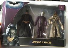 THE DARK KNIGHT: MOVIE 3 PACK FIGURE SET BATMAN, THE JOKER & SCARECROW