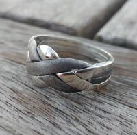 Puzzle Ring - 4 Bands Silver Sterling 925 with PATTERN Oxidated -Turkish Classic