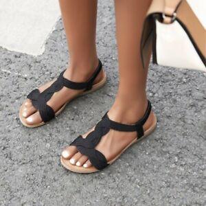 Roman Women T-Strap Sandals Open Toe Summer Beach Slingbacks Buckle Flats Shoes