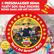 6 Personalised Fireman Sam Birthday Party Box or Bag Self Adhesive Stickers