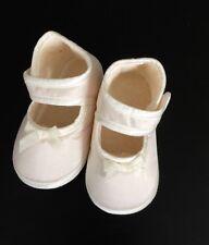 "Little Darlings England Girls Dupioni Silk Christening Shoe Size 2 - 4.5"""