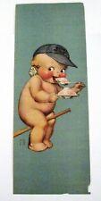 "Adorable Vintage Print ""Rose O'Neill"" Kewpie Eating Ice Cream w/ Baseball Cap *"