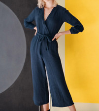 Sundry Anthropologie Navy Belted Gauze Jumpsuit 0/XS $198 NWT