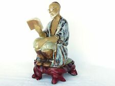 Chinese Clay Figurine Seated with Book - Includes Pedestal Glazed Fine Art Gift