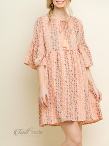Umgee | Blush Babydoll Mini Floral Embroidered Bell Sleeve Front Keyhole Dress