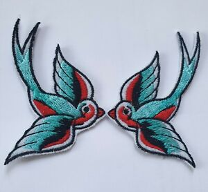 Swallow Iron On Patch- Embroidered Appliques Sew Bird Nature Badge Crafts