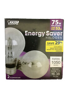 2 Bulbs Feit Electric Energy Saver Halogen 53w/75w Replacement, 1050lm, 120V
