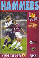 2000/01 WEST HAM UNITED V MANCHESTER UNITED 26-08-00 Premier League (Very Good)