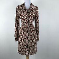 John Roberts Dress Size 6 Red Black Beige Geometric Long Sleeve Career Womens