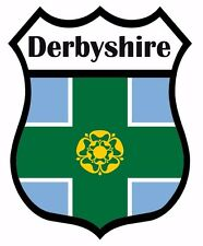2 x Derby Derbyshire Flag Decal Car Motorbike Laptop Window Sticker - Free P & P