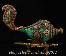 """13"""" Old Tibet Copper Turquoise Coral Gem Conch Trumpet Shell Fish Sculpture"""