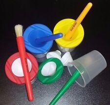 Childrens Pennello e non-spill Vernice Pentola Set 8 Pezzi Set 4 colori vivaci