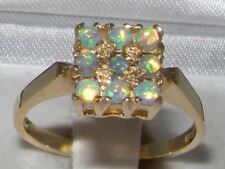 ENGLISH MADE & DESIGNED 9CT SOLID YELLOW GOLD NATURAL AUSTRALIAN FIERY OPAL RING