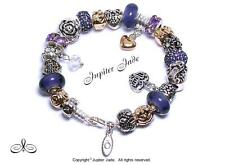 Authentic Pandora Silver Charm Bracelet Pugster Charms Mom Wife Family Purple