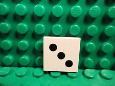 Lego 1 White 2x2 tile printed with 3 black dot dice NEW