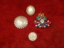LOT OF 3 OLD VTG SCARF CLIPS, INCL RARE STERLING SILVER WITH COLORED RHINESTONES