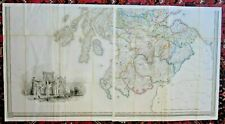 1846 2 Large Maps S Scotland 133x71cm Lewis Dictionary Melrose Abbey Antique Map