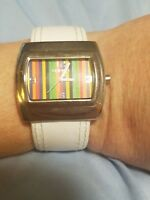 Chicos Watch White Band Hinge Both Sides Silver Square Face With Color Stripes