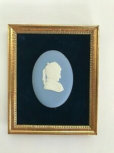"""Wedgwood Blue jasper """"Unknown Cameo"""" framed  in excellent condition  ."""