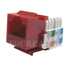 3x Pack Lot CAT6 Network RJ45 Port 110 Punch Down Keystone Snap-In Jack Red