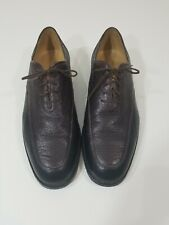 Men's Gravati Italian Soft Leather Shoes Black-Burgundy Two-Toned, Size 12M