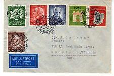 1953 Germany Scott B332-B333, B334-B337 on gorgeously-franked cover to Illinois