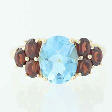NEW Blue Topaz & Garnet Ring - 14k Yellow Gold Size 7 Women's 5.23ctw