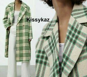 ZARA Green Ecru Oversized Checked Linen Jute Coat LIMITED EDITION M L 14 BNWT